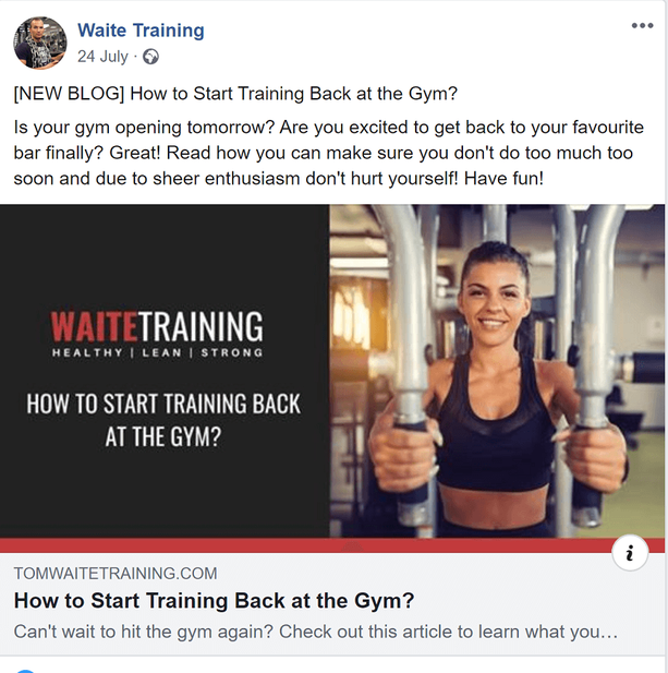 facebook fitness blog promotion